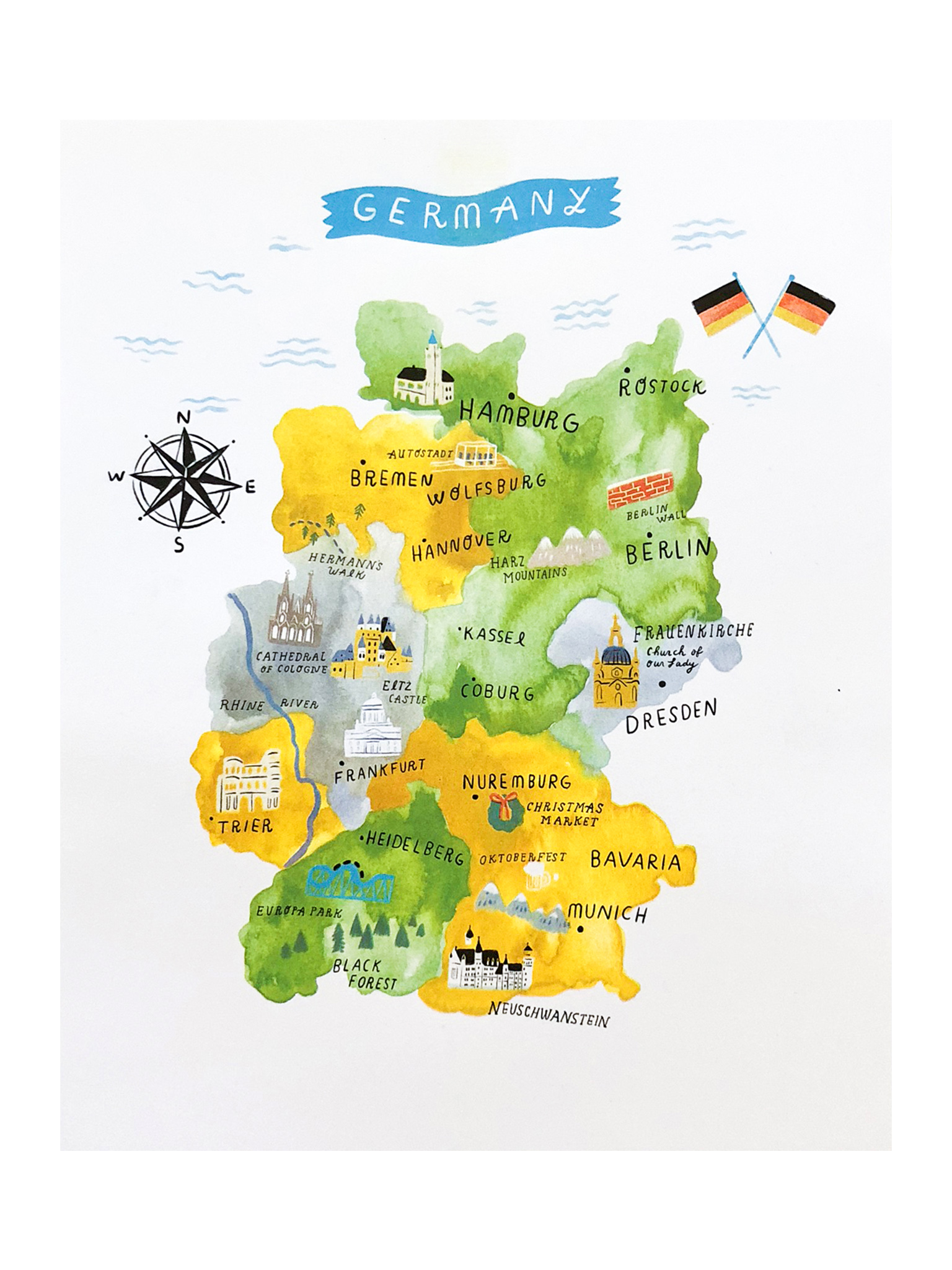 Map of Germany Risograph Print